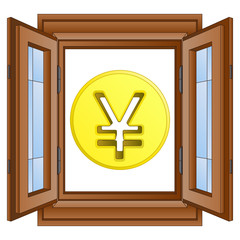 golden yen or yuan coin in window frame vector