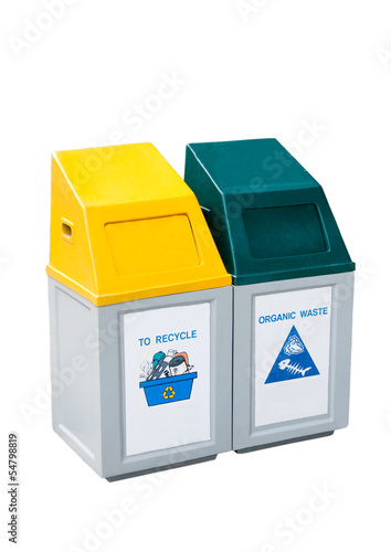 Recycle bins isolated on white background