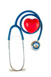 Blue stethoscope with red heart