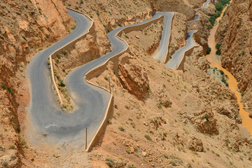Winding road in Dades Valley, Morocco, July