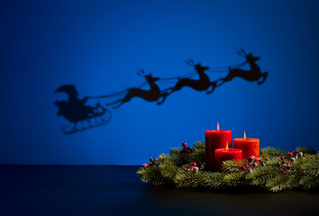Santas sledge and candles