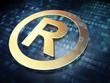 Law concept: Golden Registered on digital background