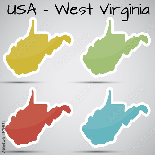stickers in form of West Virginia state, USA