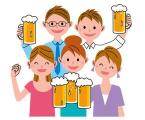 男女 ビール 飲み会