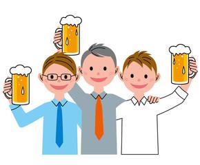 男性 ビール 仲間
