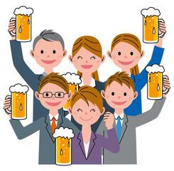 仲間 ビール 乾杯