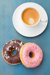 breakfast with fresh coffee and donuts