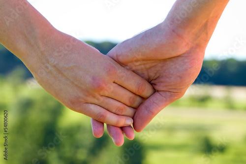 canvas print picture Händchen halten