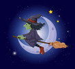 A scary witch in the sky near the moon