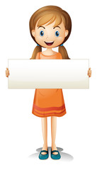 A girl with an orange dress holding an empty banner