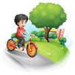 A boy with a red shirt biking