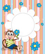 A stationery with blue flowers and a monkey