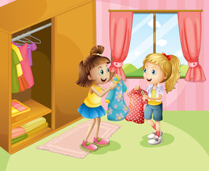 Two girls showing their clothes inside the house
