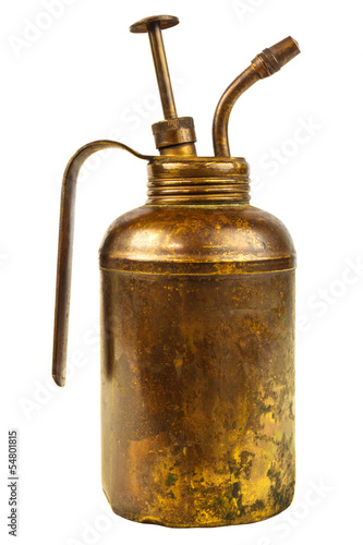 Vintage oil can with handle isolated on white