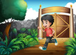 A boy with a red shirt running inside the fence