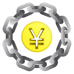yuan or yen coin in strong steel circle chain vector