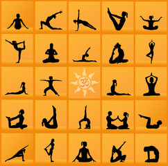 Yoga poses collage