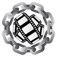 movie type in strong steel circle chain vector