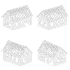 four isometric line drawing schema views