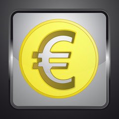 golden euro coin square button vector