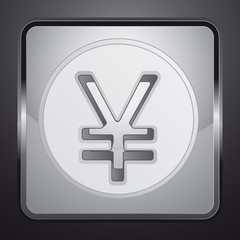 silver yuan or yen coin square button vector