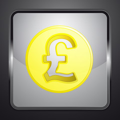 golden british pound coin square button vector