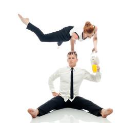 Concept of multi-tasking - businessmen-acrobats