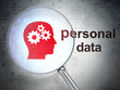 Information concept: Head With Gears and Personal Data with opti