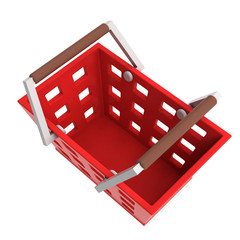 red shopping basket upper view isolated