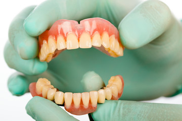 Dentist with dental prostheises