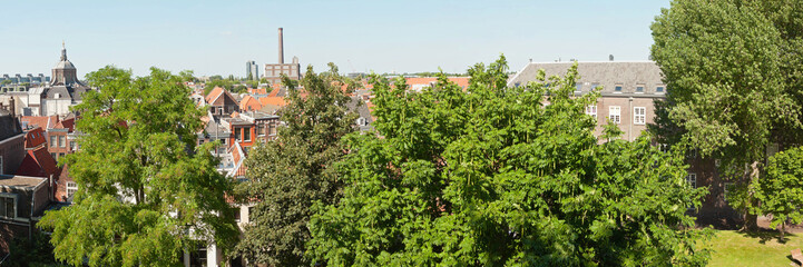 Panoramic photo of roofs and trees of dutch city Leiden in summe