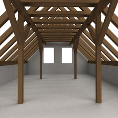 isolated attic wooden construction perspective veiw