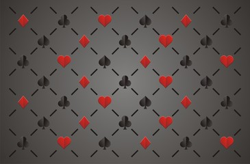 clubs , diamonds , hearts and spades, elegant seamless pattern