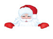 Vector of Santa Claus hiding by blank isolated.