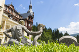 Medieval style statue in Peles castle garden, Sinaia, Romania. poster