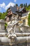Peles castle architecture and statues, Sinaia, Romania poster