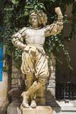 Medieval knight statue Peles castle, Sinaia, Romania poster