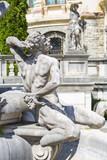 Allegoric stone statue in Peles castle garden, Sinaia, Romania poster