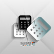 Calculator icon vector 3d paper design
