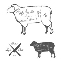 British (UK) cuts of lamb or mutton diagram