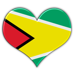 Heart with flag of Guyana
