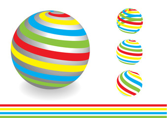 vector concept with striped dimensional globes