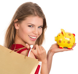 Shopping piggy bank woman, isolated on white background
