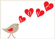 valentine card design with bird and hearts