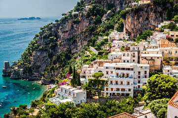 View of Positano. Positano is a small picturesque town in Italy
