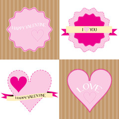 set of valentine labels