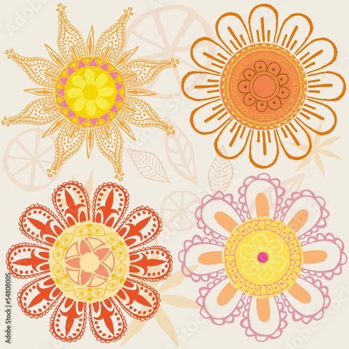 Set of funny colored flowers