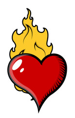 Burning Heart in Flames - Vector Illustration