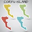 stickers in form of Corfu Island, Greece