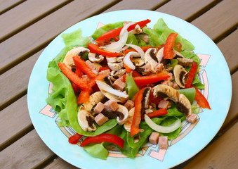 assiette crudité,tomate,salade,champignon,poivron